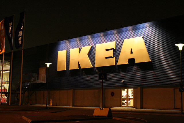 IKEA Sign Lit Up in the Dark